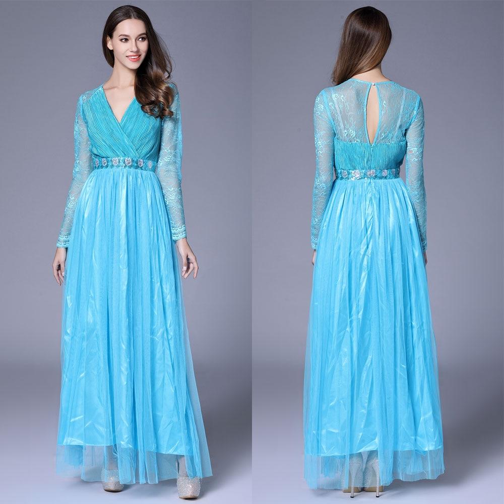 فستان سهرة ساتان أزرق ، ياقة على شكل v ، أكمام طويلة ، تول ، ثوب كرة ، رسن ، حزام ، دانتيل ، خط a ، B0070
