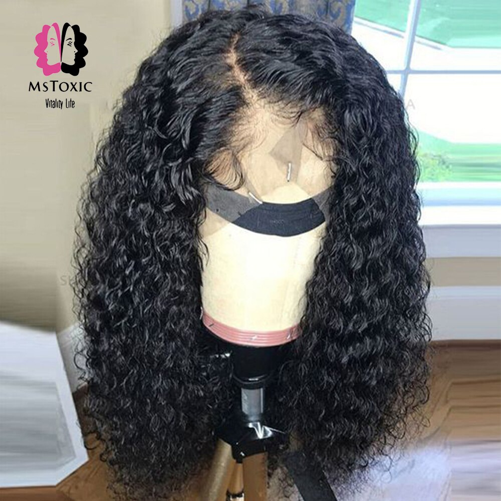 Peluca Frontal de encaje MsToxic con ondas de agua 360, peluca de cabello de bebé con frente de encaje, pelucas de cabello humano Remy brasileño para mujeres negras