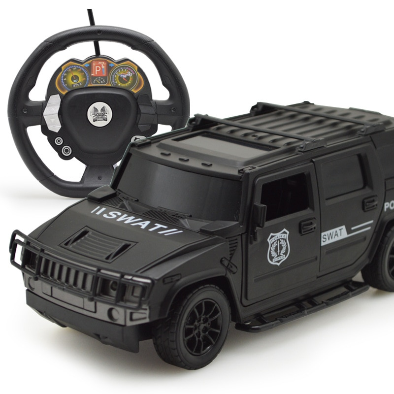 Coches de control remoto con volante a control remoto por inducción de gravedad, coche todoterreno con luces, Hummer de puerta abierta, juguetes eléctricos para niños