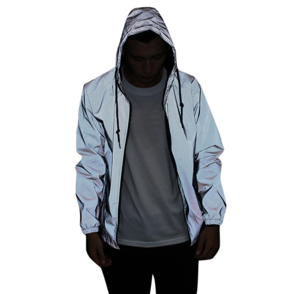 Chaqueta reflectante de manga larga para hombre/mujer harajuku cazadora chaquetas con capucha hip-hop streetwear noche brillante cremallera abrigos # g3
