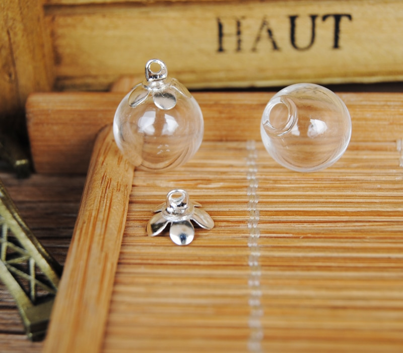 ¡Nuevo envío gratis! 50 set/lote 12mm * 3mm (apertura) bola de vidrio burbuja con tapa de flor set DIY botella de vidrio colgante de frasco