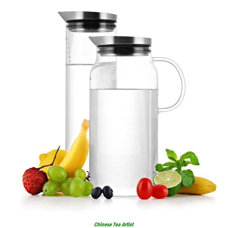 SAMADOYO-إبريق ماء زجاجي من البورسليكات ، 1300 مللي ، غطاء من الفولاذ المقاوم للصدأ ، أواني الشرب ، الشاي المثلج ، غطاء برطمان