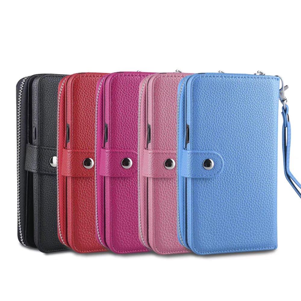 Multifunción teléfonos PU cuero muñequera efectivo embrague cartera ranura para tarjeta funda para varios modelos bolsa protección pieles