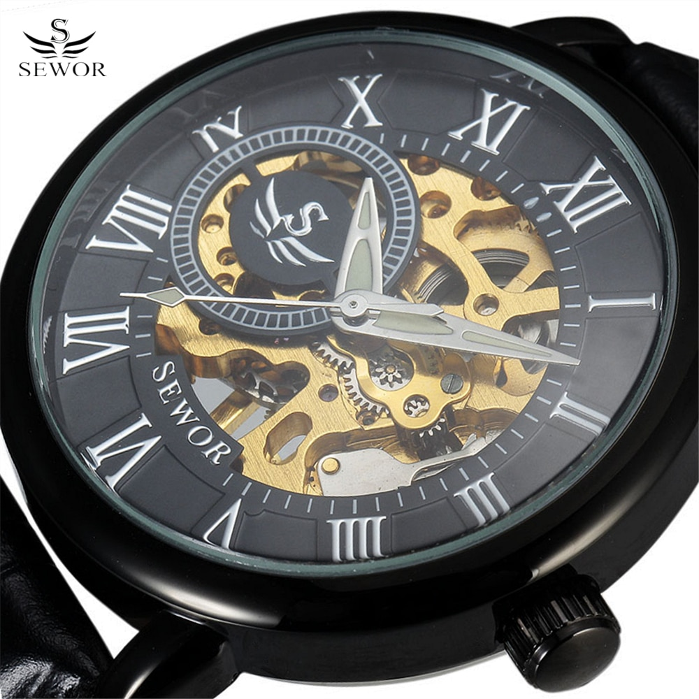 SEWOR clásico 3d Logo diseño grabado de huecos funda negra cuero Roma esqueleto relojes mecánicos hombres de lujo marca Heren Horloge