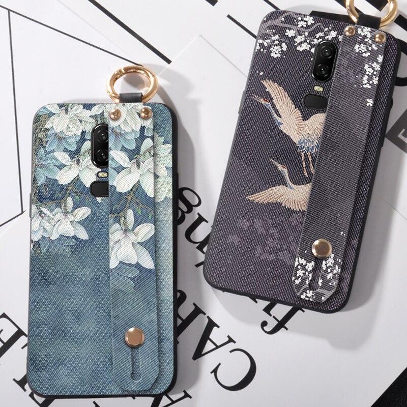 Capa de celular com tira de pulso, para oneplus 1x3 one plus 3t 5 5t, capa de flores elegante capa traseira para oneplus 6 t, 6 t/1 + 6