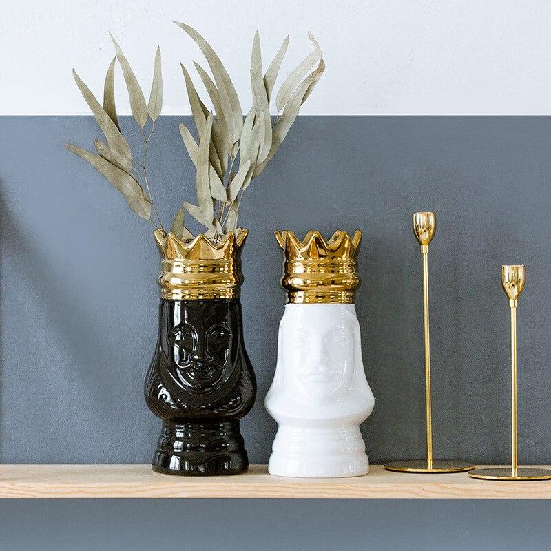 Ins Style Ceramic Vase King Queen Face European-style Gold-plated Desktop Vase Flower Arrangement Home Decor