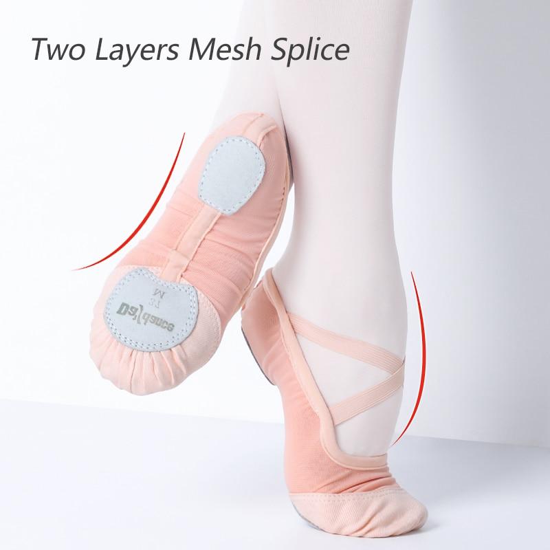 Летние эластичные сетчатые балетки с мягкой подошвой; женские балетки для девочек; высококачественные балетки; Танцевальная обувь