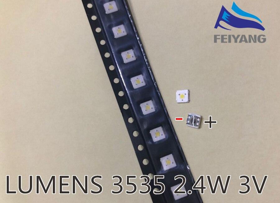 100 Uds retroiluminación de LED de lúmenes Flip-Chip LED 2,4 W 3V luz blanca fría 3535 153LM iluminación LCD trasera para TV aplicación de TV