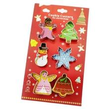 6 stks/set Kerst Cookie Cutter Mold 3D Roestvrij Staal Koekje Schimmel Biscuit Taart Decoratie Bakken Tools