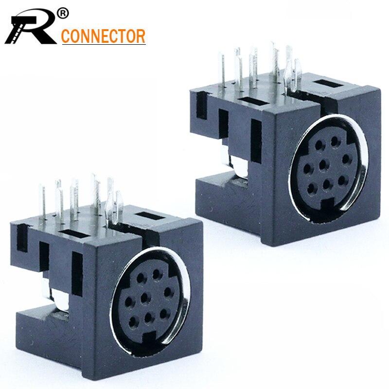 100 unids/lote 8 Pin Mini conector DIN hembra de ángulo recto/90 grados, PCB montaje en Panel 8 Pin Mini DIN Jack chasis del zócalo terminales