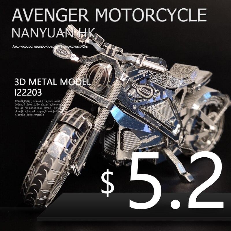 VINGADOR MOTOCICLETA NANYUAN I22203 Nível Coleção Enigma 3D Metal Assembléia Modelo 1:16 2 Folhas Souptoys presentes Criativos