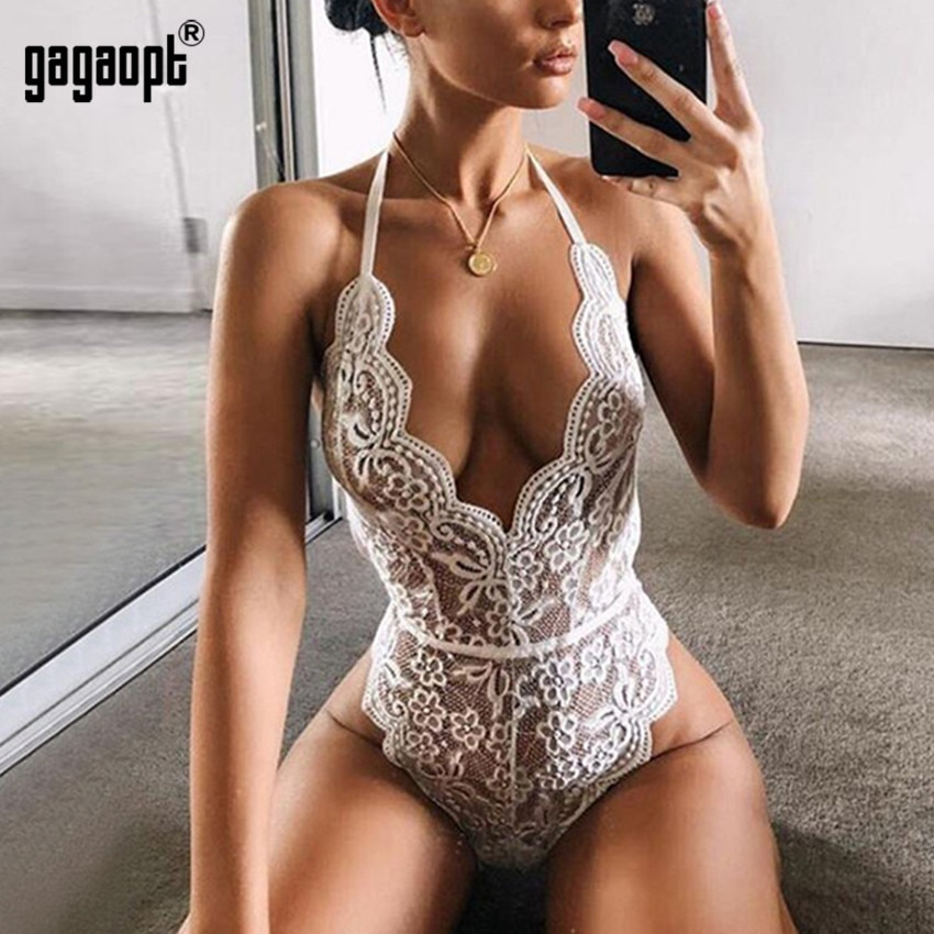 Gagaopt Lace Bodysuit Women Halter Floral Embroidery White Black Bodysuit Backless Sexy Bodysuit Jumpsuit Overalls Sleepwear недорого