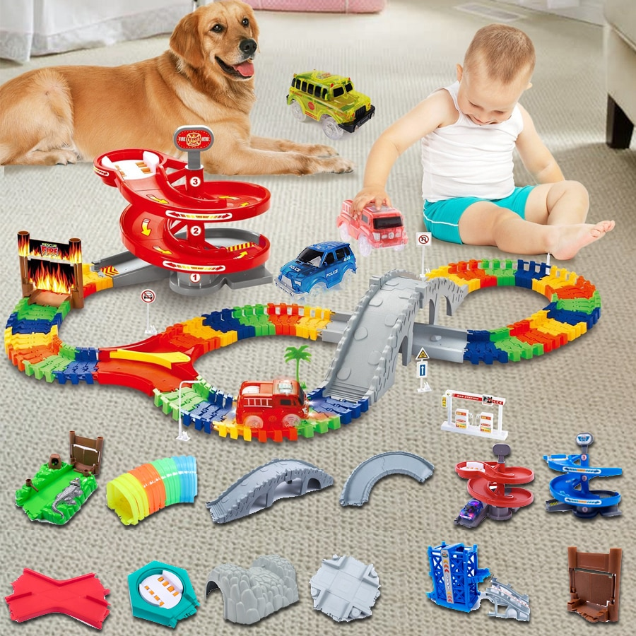Magical Glowing Flexible Track accessory make your toy car more fun and creative Bend,Flex and Glow
