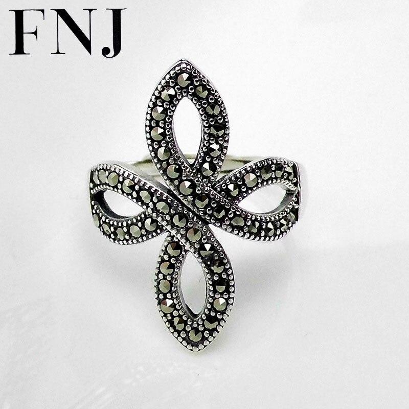 FNJ 925 anillo de plata con flor marcasita nueva moda Original anillos de plata esterlina S925 para mujeres tamaño ajustable de joyería