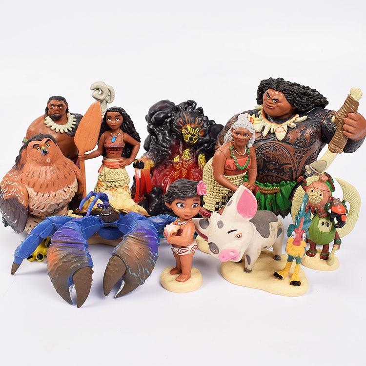 Figura decorativa Vaiana de dibujos animados princesa leyenda Vaiana Maui Chief Tui Tala Heihei Pua juguetes para regalo de cumpleaños para niños