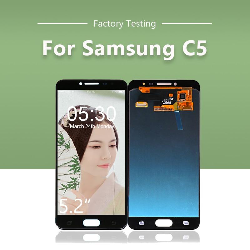 10 unids/lote Original LCD para SAMSUNG para Galaxy C5 C5000 pantalla táctil digitalizador montaje C5 LCD envío gratis por DHL EMS
