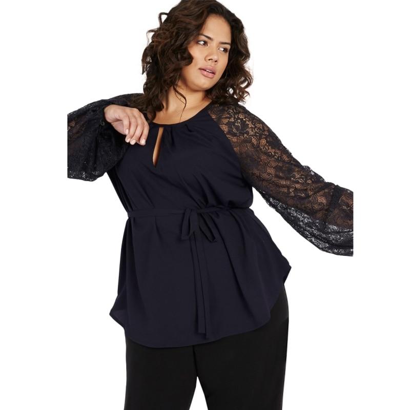 Kissmilk de talla grande Semi pura Patchwork Lace manga latern blusa de las mujeres O cuello de encaje casual de cintura blusa de gran tamaño