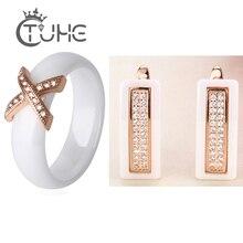 Ensembles de bijoux Vintage en or Rose 585 pour femmes avec Zircon cubique CZ Style classique boucles doreilles en céramique noir blanc anneau croisé X