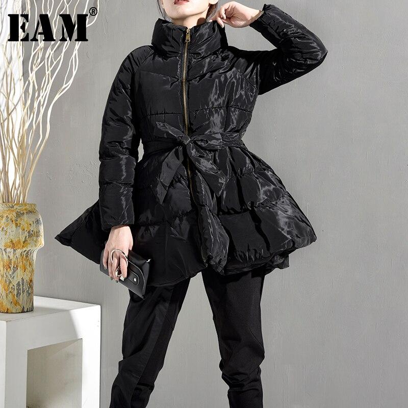 [EAM] 2020 New Spring Autumn Stand Collar Long Sleeve Black Bandage Bow Loose Warm Cotton-padded Jacket Women Coat Fashion WC691