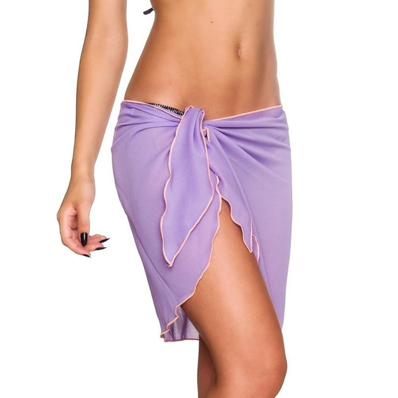 Saia de praia feminina vestido praia sarong bikini cover-ups chiffon envoltório pareo saias confortável leve capa ups roupa de banho