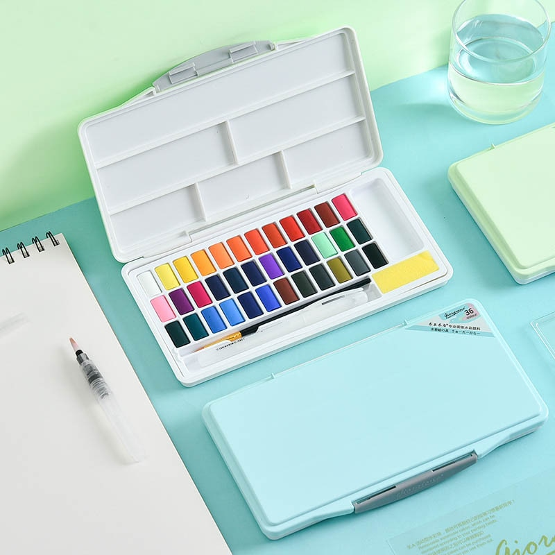 24/36/48 colores portátil viaje pigmento sólido acuarela pinturas conjunto con pincel pluma para pintura arte suministros