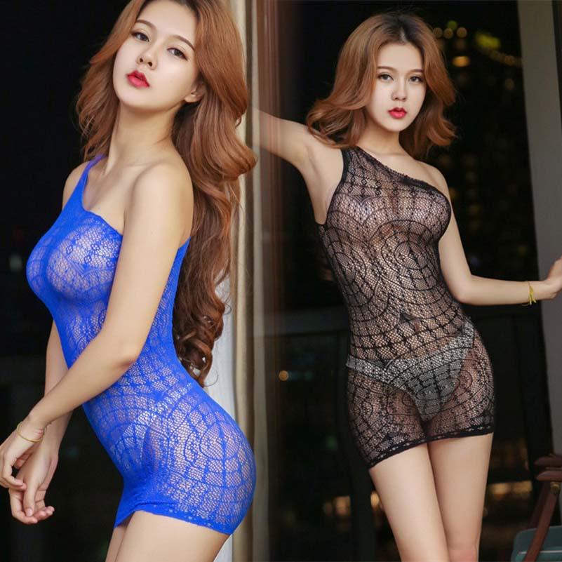 Mini vestido de rejilla, ropa interior sin entrepierna, lencería ahuecada, juegos de amantes de la tela de araña, Body de malla asimétrico Sexy