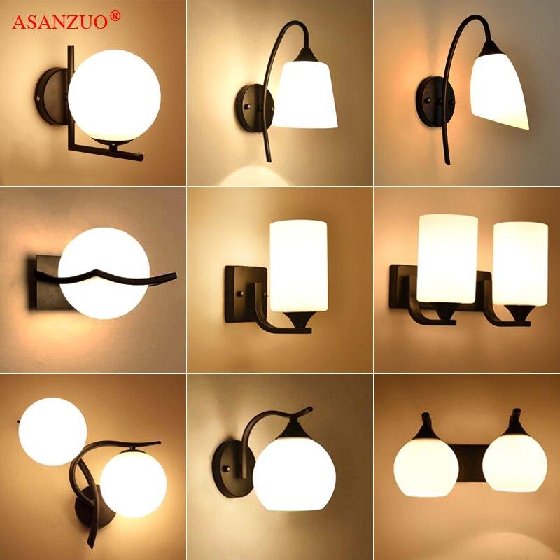 Lámpara americana retro de vidrio blanco leche lámpara de pared vintage dormitorio mesilla de noche aplique de pared E27 o E14
