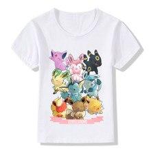 Boys and Girls Pop Eeveelutions Pokemon Go Cartoon Design T shirt Kids Casual Clothes Baby Summer White T-shirt,ooo5091