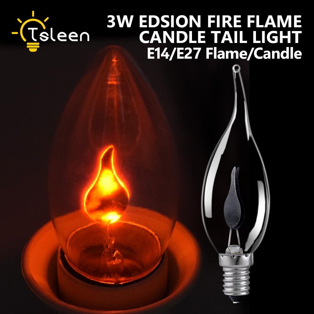 Винтажная светильник ПА Эдисона в стиле ретро, 220 В, E14, E27, 3 Вт, светодиодсветодиодный Мерцающая лампа, огненное пламя/свеча, лампочка для люс...