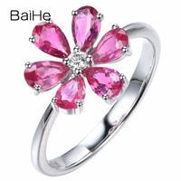 baihe solid 14k white gold total 1 04ct hsi natural diamonds pink sapphirs women trendy fine jewelry pink sapphirs flower ring
