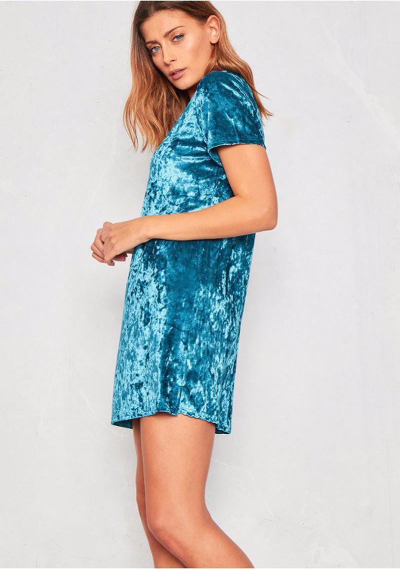 Short Sleeve Velvet Short Casual Dress 9