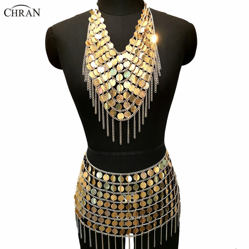 Chran Laser Sequin Mermaid Dress Chainmail Bralette Harness Necklace Festival Bra Crop Top Burning Man Wear Sexy Ibiza Skirt