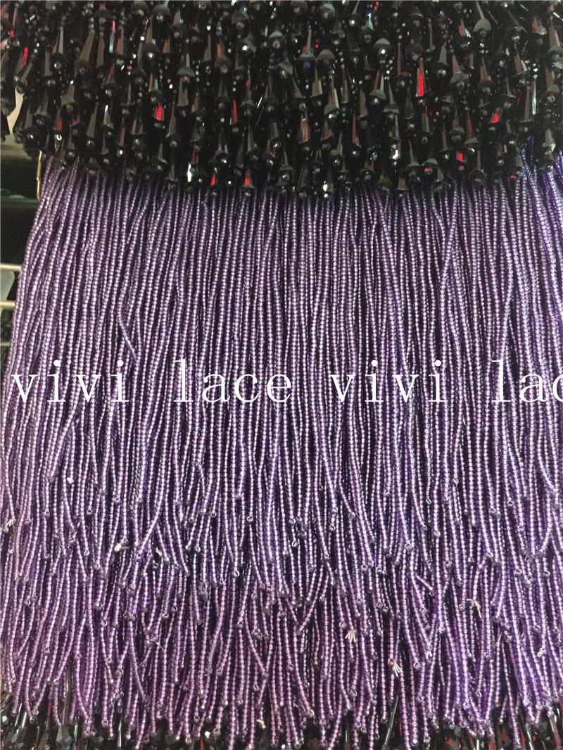 yy014  new 5yards dark purple  round  beads ribbon tassel fringe 13-14cm width for decoration dress/fashion designer