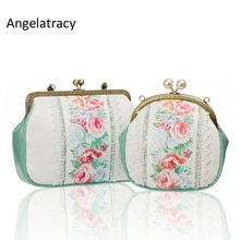 Angelatracy Rose Print Ladies Hand Bags Blue PU Bags Handbags Women Famous Brands Lace Wallet Women Shopping Bag bolsos mujer