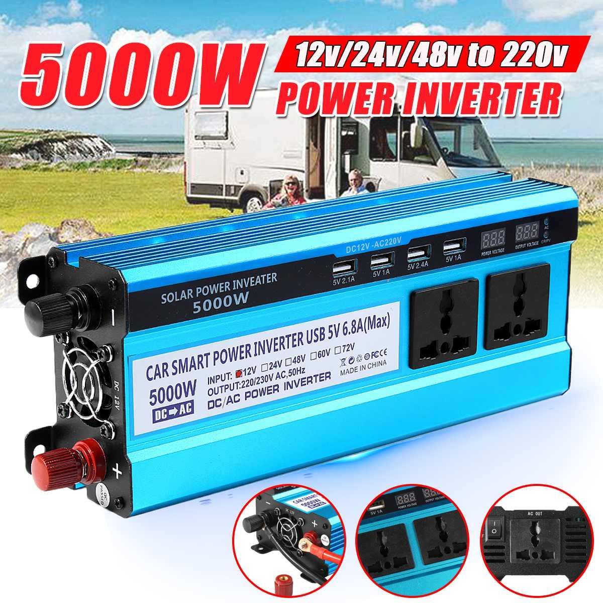 Солнечный инвертор DC 12V 24V 48V к AC 220V 3000W 4000W 5000W Инвертор Трансформатор напряжения светодиодный преобразователь для дома и автомобиля