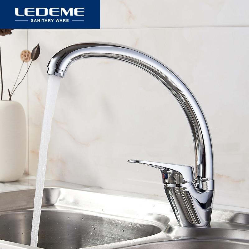 LEDEME-صنبور مطبخ دوار 360 درجة ، خلاط نحاسي بارد وساخن بمقبض واحد L5913