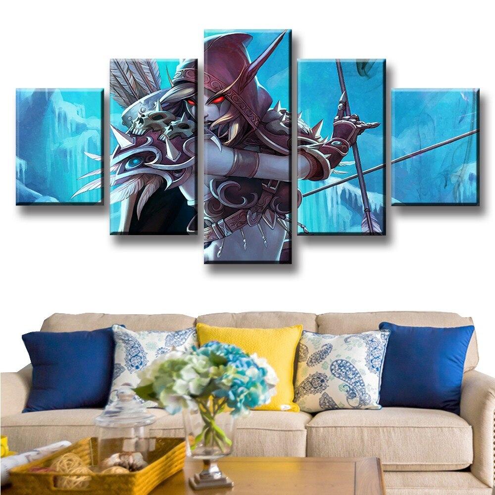 Cuadro de arte de pared 5 piezas pósteres de juego Gran oferta Sylvanas Windrunner modulares impresos cuadro Cuadros Marco de decoración obras de arte