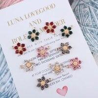diy oil drop crystal bauhinia flower pendant charms beads rhinestone flower jewelry findings accessories gold alloy bracelet