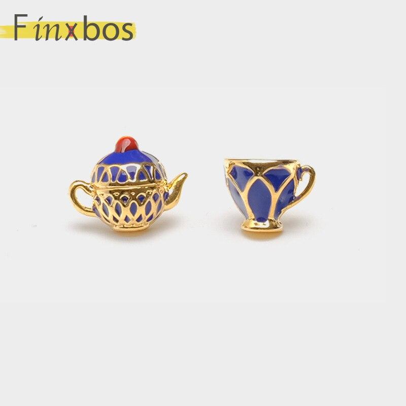 Finxbos aleación encantadora tetera taza de té uñas para mujeres