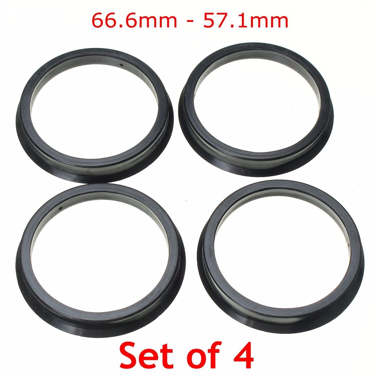 1 conjunto de 4 anéis centricos, centro de roda com colarinho 66.6-57.1mm para audi black plástico