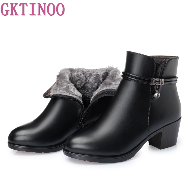 GKTINOO 2021 NEW Fashion Soft Leather Women Ankle Boots High Heels Zipper Shoes Warm Fur Winter Boots for Women Plus Size 35-43