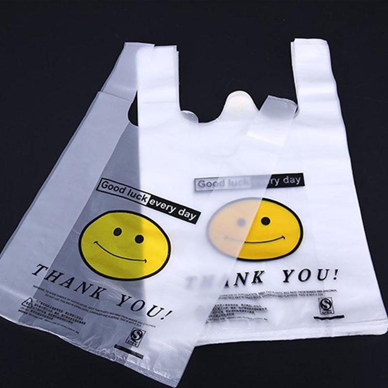 50 шт./упак. белые пищевые Прозрачные полиэтиленовые пластиковые хозяйственные эко-пакеты для супермаркета, шоппинга, пластиковые жилеты, хо...