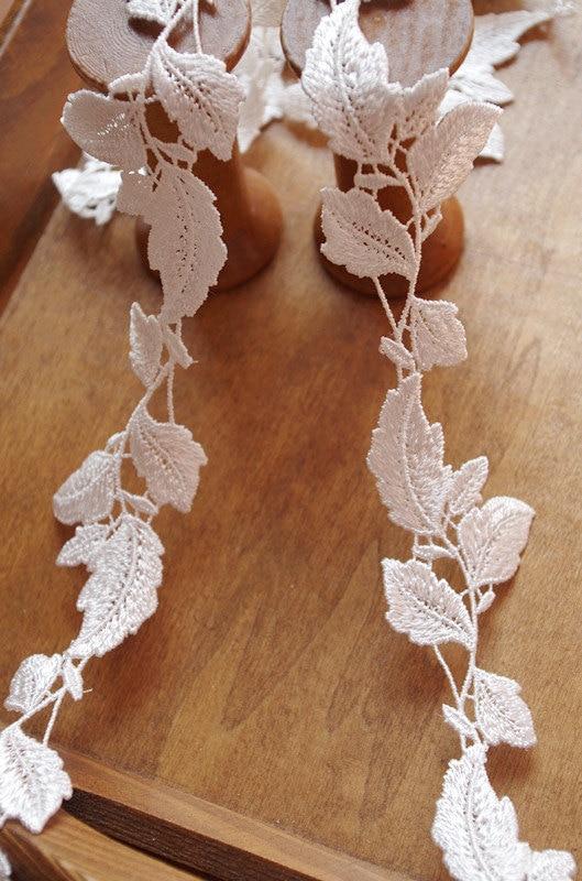 Embellecedor de hojas de encaje de Venecia de 15 yardas, embellecedor de encaje blanco con flores de margaritas