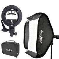 Godox 60 x 60cm Flash Softbox Kit & S-Type Bracket Bowen Mount Holder with Carrying Bag for Camera Photo Studio