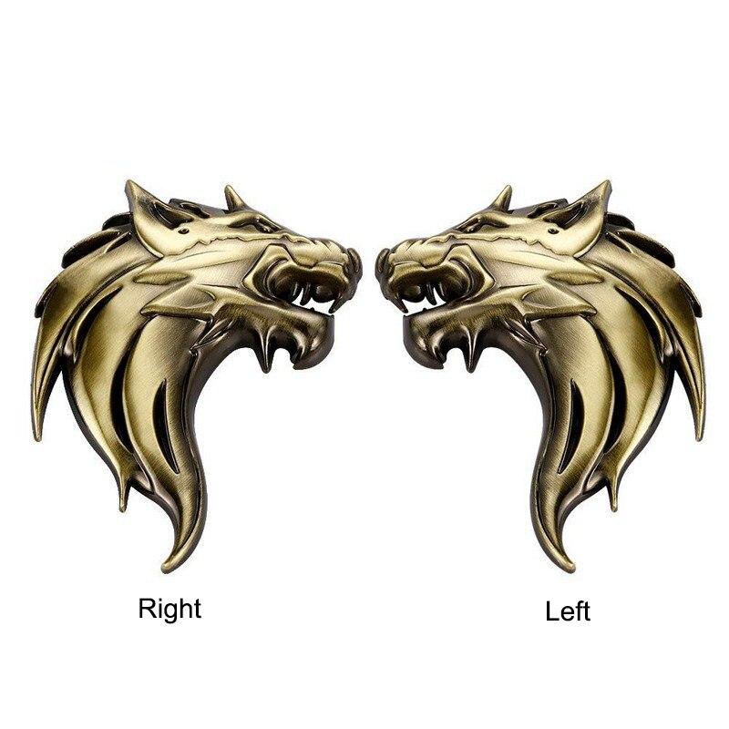 3 colores, cabeza de Lobo izquierda/derecha, emblema de Metal cromado de aleación de Zinc, pegatina 3D de reacondicionamiento DIY, estilo de coche, marca de aire Exterior para coche
