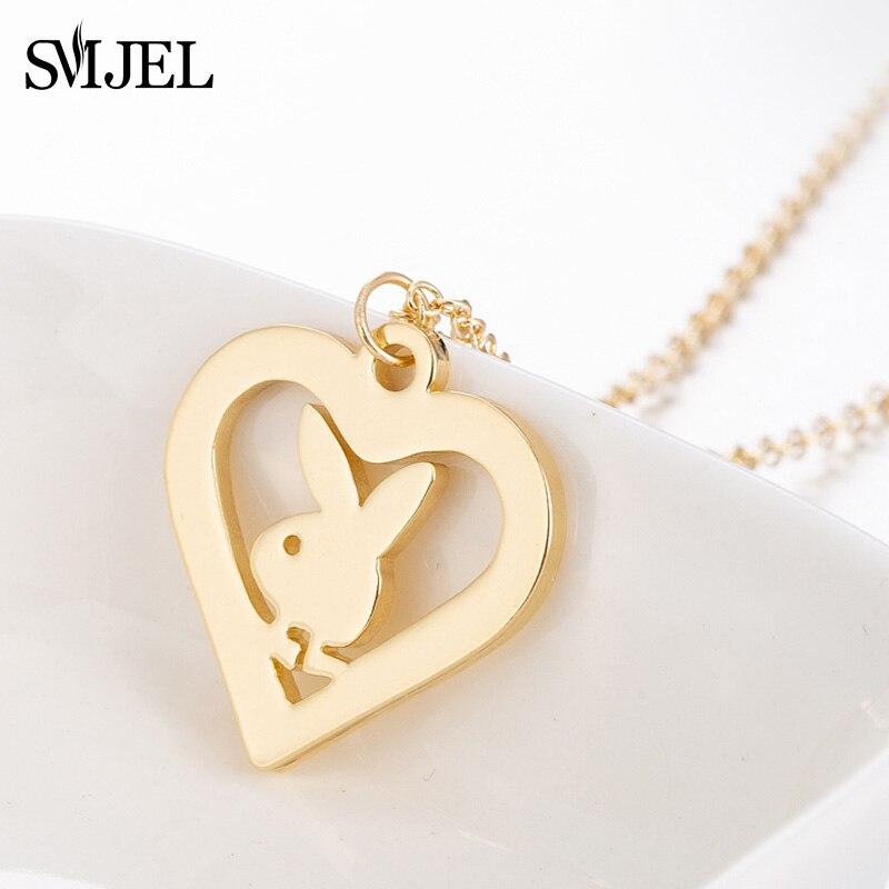 SMJEL conejito pequeño collar de acero inoxidable moda conejo colgantes de corazón collares mujeres niños joyería minimalista collar Mujer