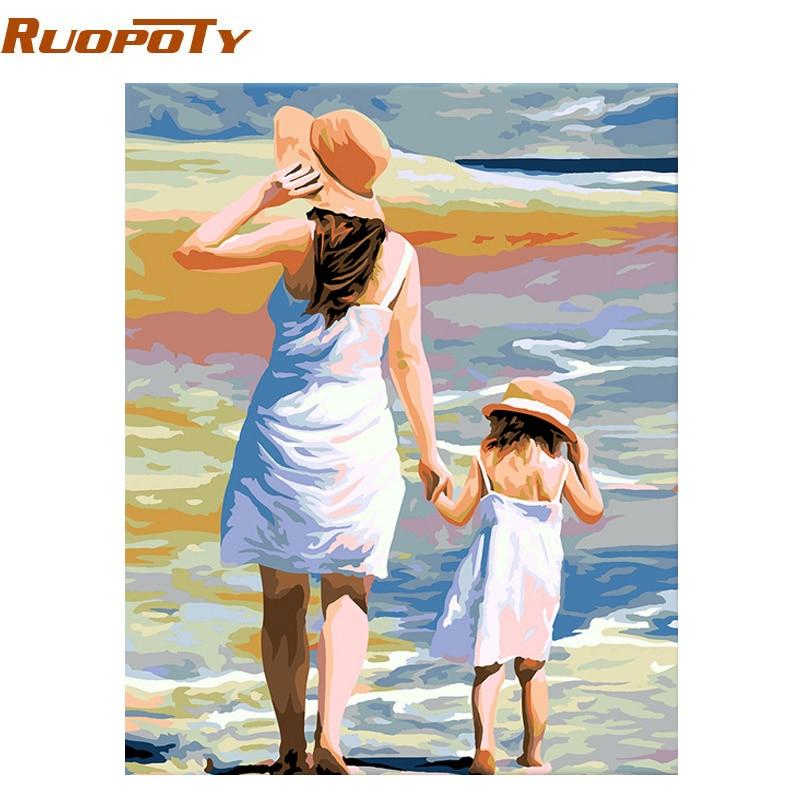 RUOPOTY cadre peinture à la main par numéros mère amour Figure peinture moderne mur Art photo calligraphie peinture décor à la maison 40x50