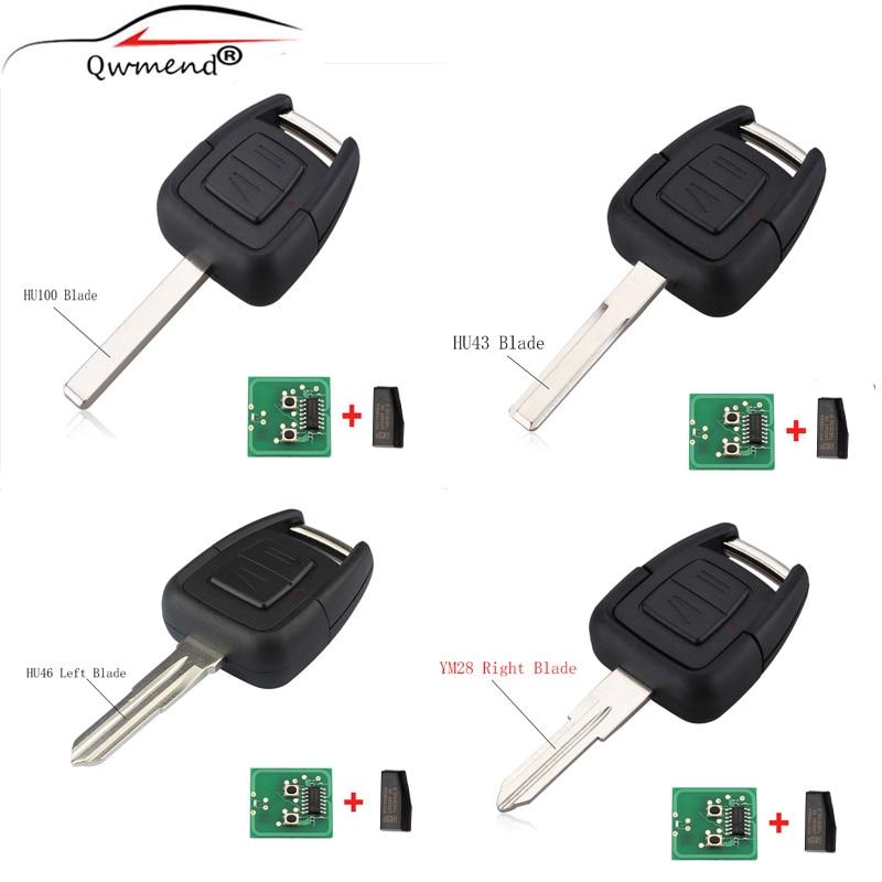 QWMEND 2 botones remoto 433Mhz transpondedor ID40 Chip para Opel Vauxhall Vectra Zafira OP1 24424723 HU43 HU100 YM28 HU46 hoja