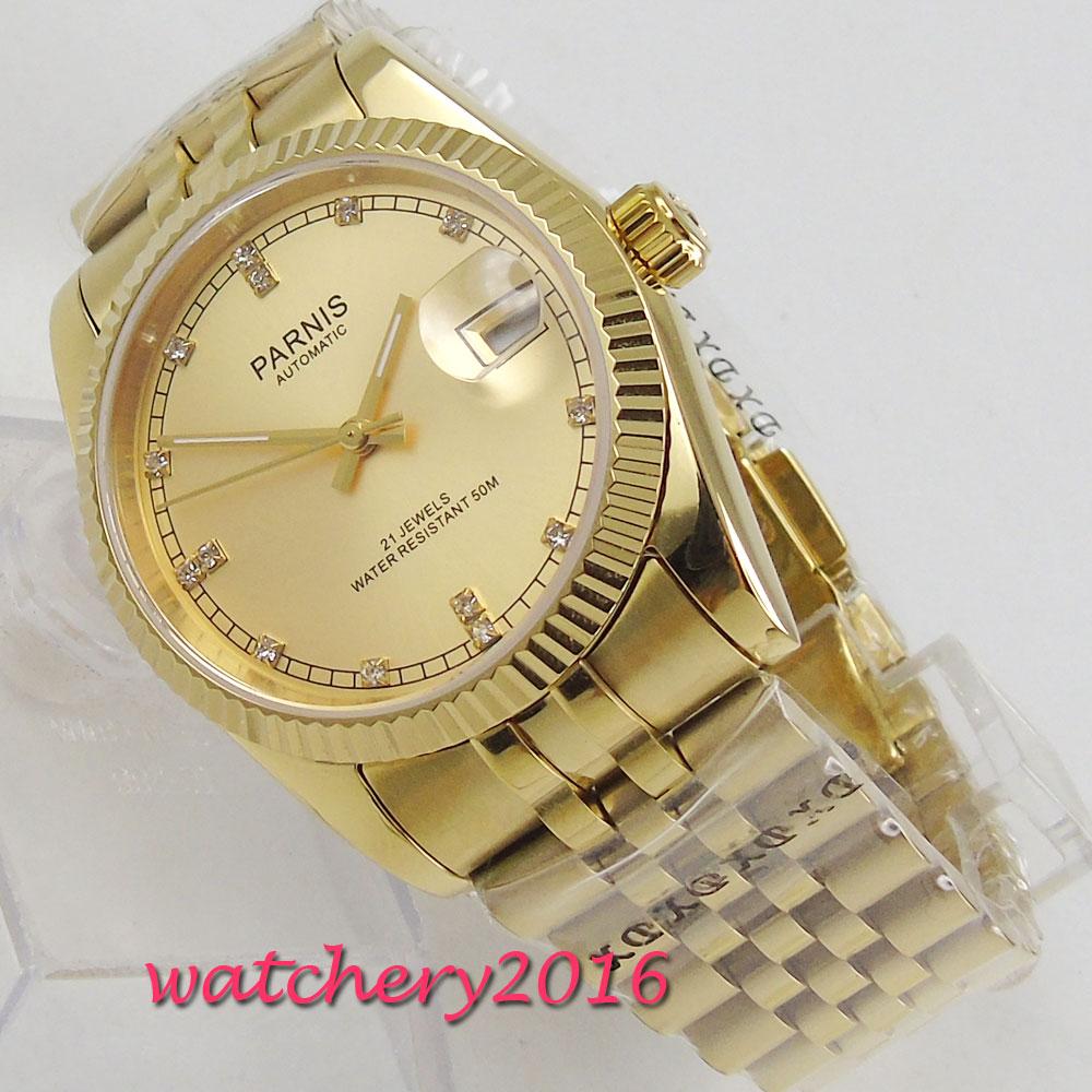 Parnis 36mm Reloj Mecánico Oro zafiro cristal hombre reloj buzo Miyota reloj automático relogio masculino papel lujo reloj hombres