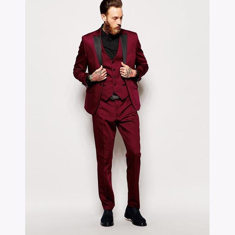 وسيم أحمر داكن رجالي عشاء حفلة موسيقية الدعاوى العريس Tuxedos أحدث معطف بانت تصاميم الزفاف السترة الدعاوى (سترة + السراويل + سترة + التعادل)